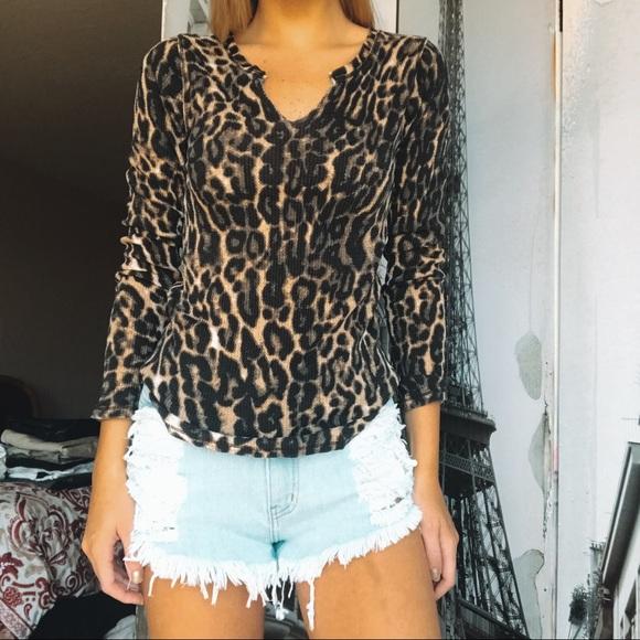 Lucky Brand Tops - Icky Brand Long Sleeve Cheetah Shirt